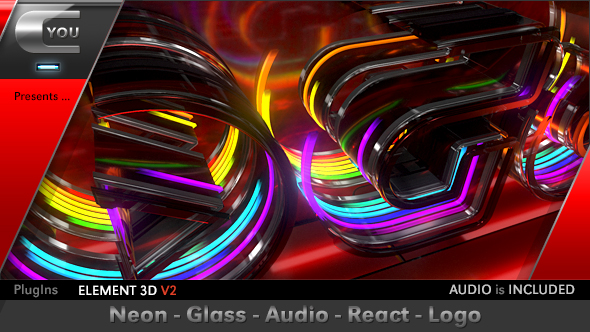 Neon Glass Audio React Logo Image
