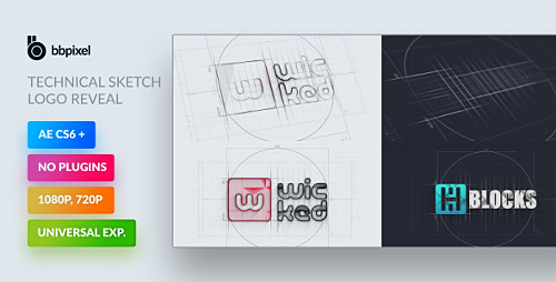 3DFootage - U041fu0440u043eu0435u043au0442u044b U0434u043bu044f After Effects - Technical Sketch Logo Reveal